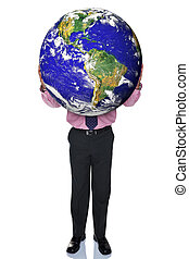 Businessman holding the world