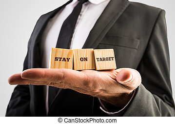 Businessman holding three wooden cubes with a Stay on target message