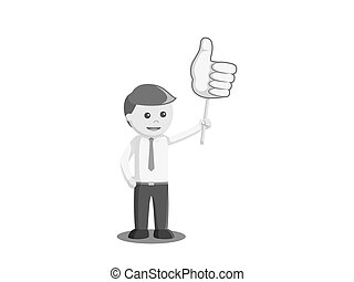 businessman holding thumb up sign board black and white color style