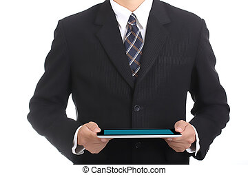 Businessman holding touch pad f
