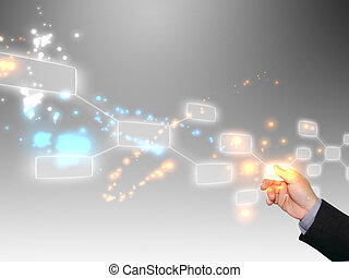 Businessman holding touchscreen