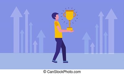 businessman holding trophy and financial arrows animation hd