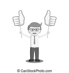 businessman holding two thumb up sign board black and white color style