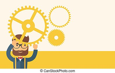 Businessman holding up gears