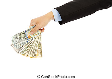 Businessman holding us dollar . isolated on a white background