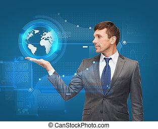 businessman holding virtual sphere globe - business, new...