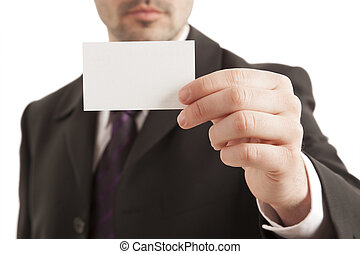 Businessman holding visiting card