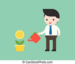 Businessman holding watering can watering plant business situation investment concept