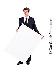 businessman holding white board - young businessman holding...