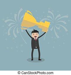 Businessman holding winning trophy - Cartoon businessman...