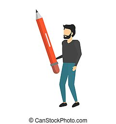 businessman holding wooden pencil supply vector illustration