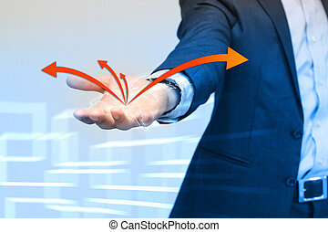 Businessman holding world map, connected.
