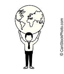 businessman holding world on hands