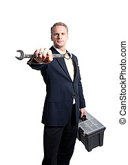 businessman holding wrench and toolbox