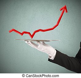 Businessman holds a tray with statistics