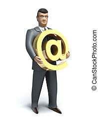 Businessman holds an email symbol