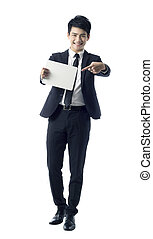 businessman holds blank paper - Portrait of professional...
