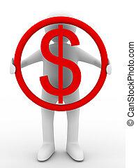 businessman holds dollar on white background. Isolated 3D image