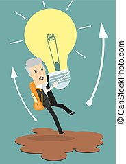 Businessman holds flying light bulb to get away from quicksand. Business concept cartoon vector illustration.