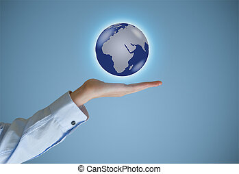 Businessman holds or holding world