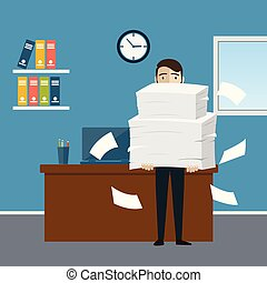 Businessman holds pile of office papers and documents. ...