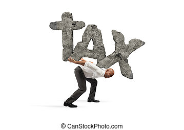 Businessman holds the word TAX made of rock