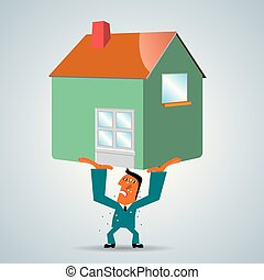 Businessman holds up house, isolated on gray background.