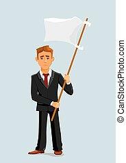 Businessman holds white flag of surrender