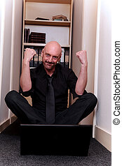 businessman home laptop