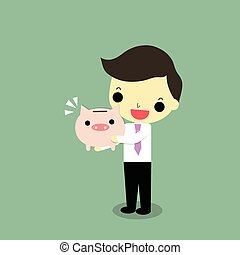 businessman hug piggy bank