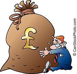 Businessman hugging a sack of mone
