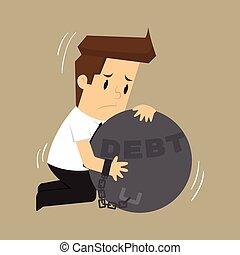 businessman hugs pendulum liabilities