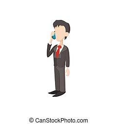 Businessman icon in cartoon style