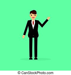 Businessman Icon in trendy flat style on green background.