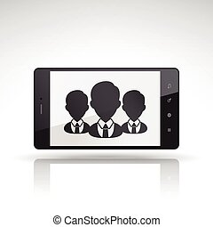 businessman icon on mobile phone