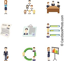 Businessman icons set, cartoon style