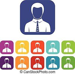 Businessman icons set flat
