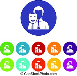 Businessman icons set flat vector