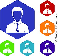 Businessman icons set hexagon