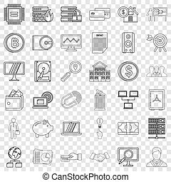 Businessman icons set, outline style