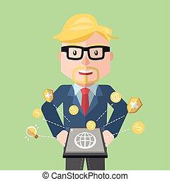 Businessman idea money flat color