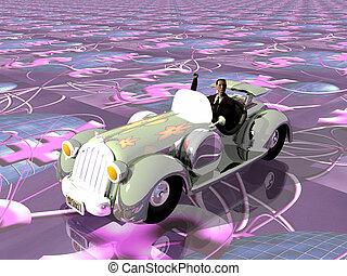 Businessman illustration in car.