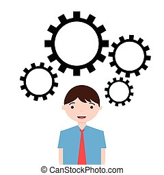 Businessman illustration with gears