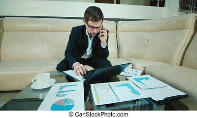 Businessman immersed in work