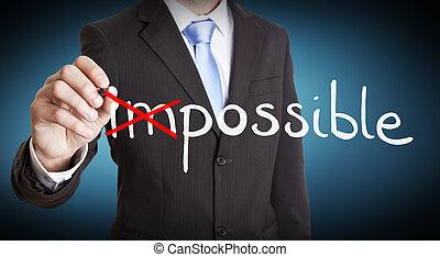 Businessman impossible solution concept