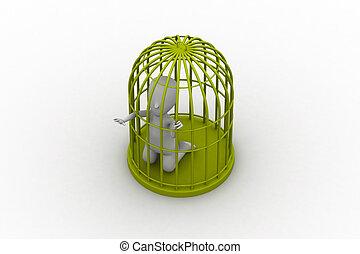 businessman in a 3d bird cage