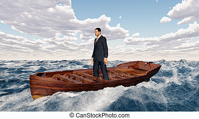 Businessman in a boat
