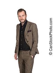 Businessman in a dark brown suit