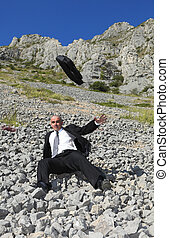 Businessman in a difficult situation - Image of a ...