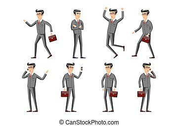 businessman in a gray suit set. Collection of business people illustrations in different poses vector